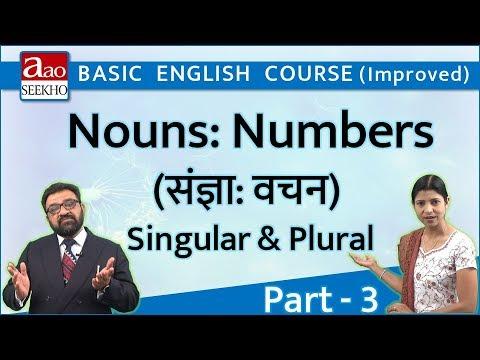 Nouns: Numbers - 3 (संज्ञा: वचन - 3) Singular & Plural - Basic English (Improved) - Video 22