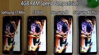 Samsung Galaxy J8 (2018) Vs A6 Plus Vs  J7 Max Vs J7 DUO Comparision !! Speed Comparision , HINDI
