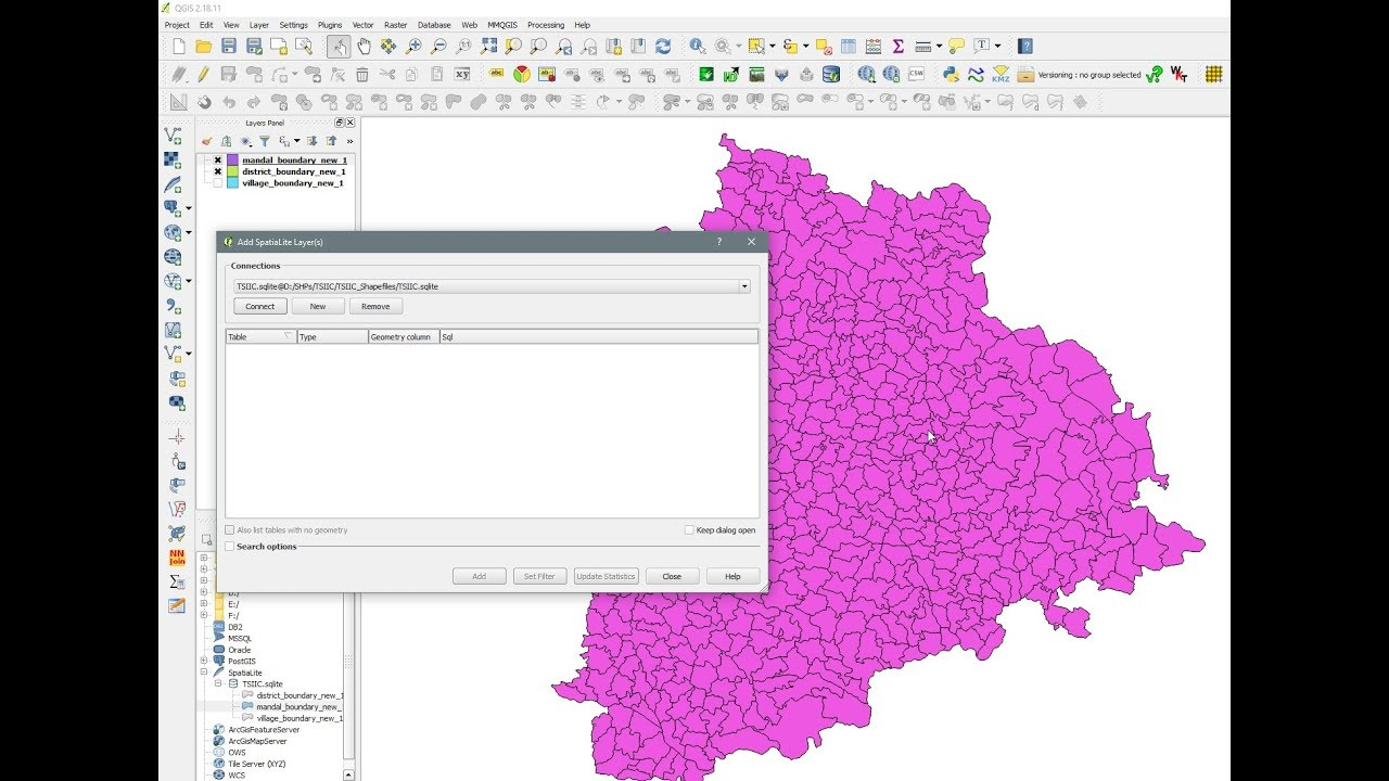 Spatialite GUI - SQLite - Connect SQLite Database to QGIS and Visualize  layers - Part V