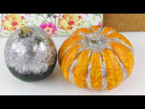 Glitzer Kürbis | Herbst Deko Idee | Halloween Party Deko selber machen 🎃 DIY Idee mit Glitzer