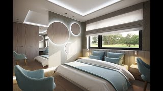 Contemporary bedroom with pure grey and light blue colours.