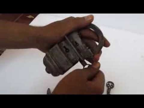 Old Looking 4 Keys Iron Tricky  Pad Lock thumbnail