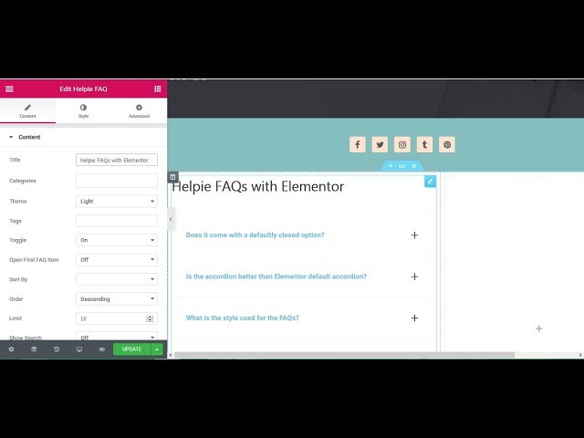 Add Accordions and Toggle (FAQs) with Elementor - Helpie FAQ