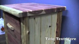 Rustic Red Cedar 2 Drawer Log Nightstand From Logfurnitureplace.com | Red Cedar Log Nightstand