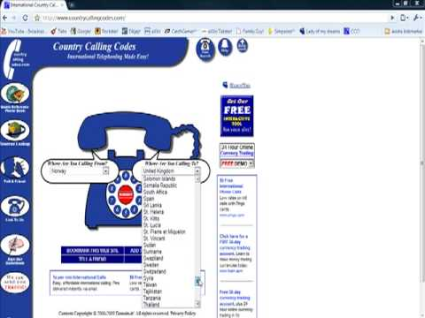 How to find Calling Codes/ Area codes for calling other countries!