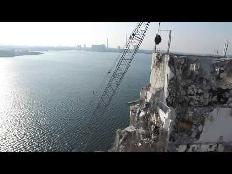Drone Video - A Wrecking Ball Demolition