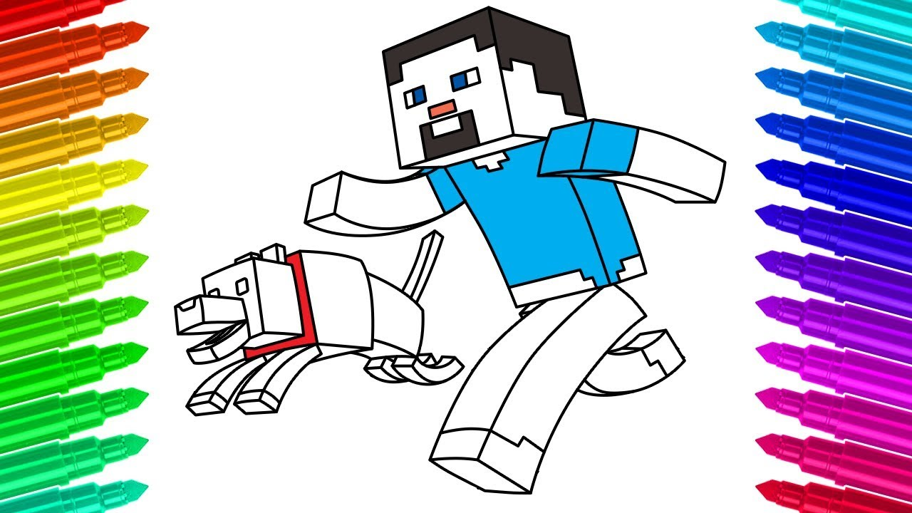 How to draw steve and his dog minecraft coloring pages for kids