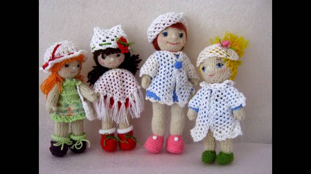 Вязаные куклы крючком и спицами - YouTube