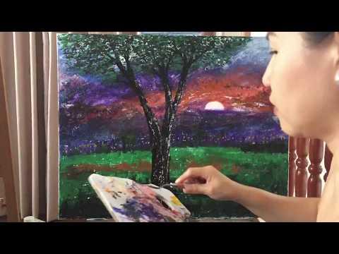 Sunset palette knife painting timelapse