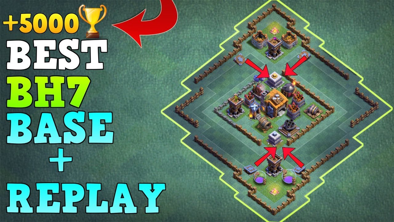 Best Builder Hall 7 Base W Replay Coc Best Bh7 Base New Updated Gaint Cannon Clash Of Clans Youtube