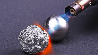 POLISHED ALUMINIUM FOIL BALL VS GAS BURNER
