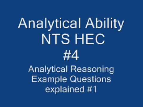 How to solve Analytical ability analytical reasoning in NTS tests