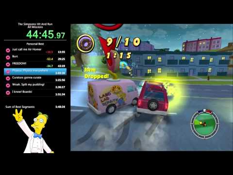 The Simpsons: Hit & Run - All Missions Speed Run - 1:50:32