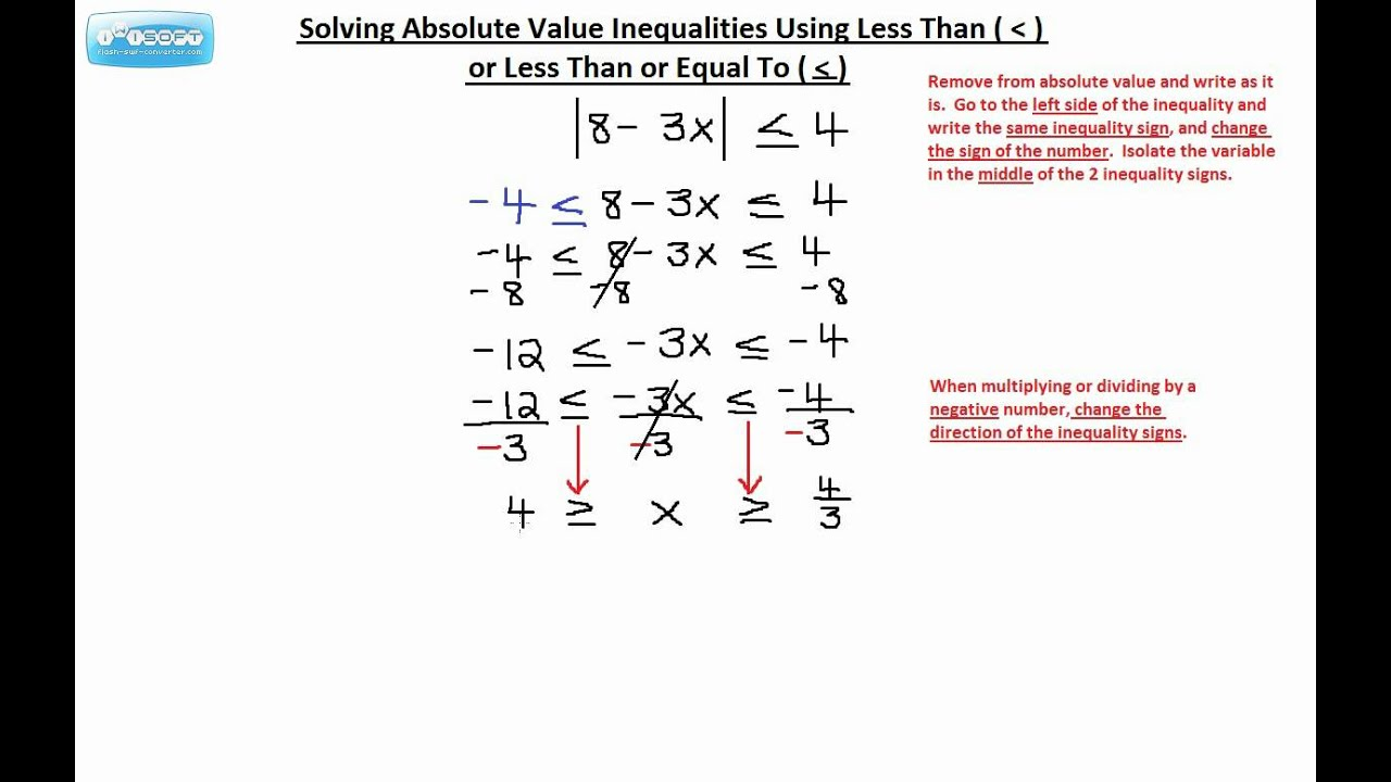 Solving Absolute Value Inequalities Using Less Than Or Less Than Or