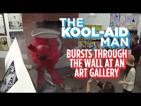 Watch The KoolAid Man Burst Through A Wall At An ArtKool Aid Breaking Through Wall