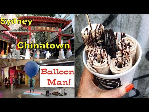 China Town Night Market Sydney | Rolled Ice Cream Recipe | Balloon Man