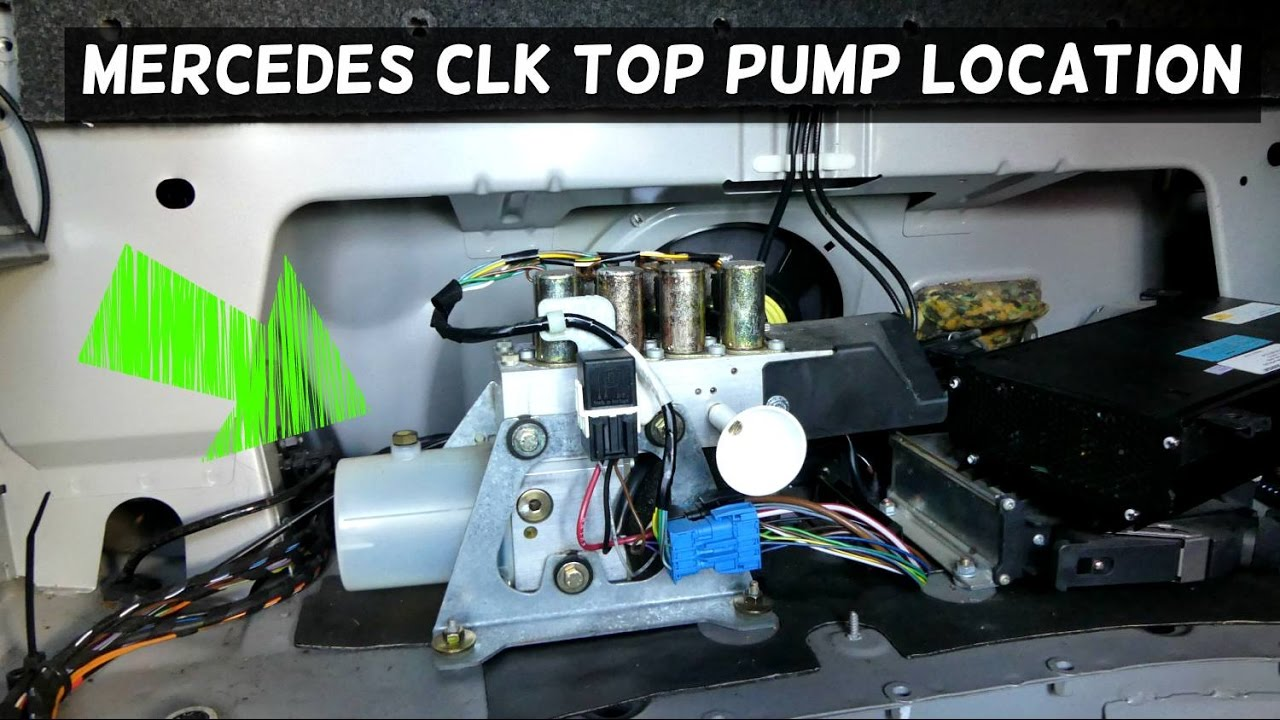 mercedes w208 clk convertible top hydraulic pump location