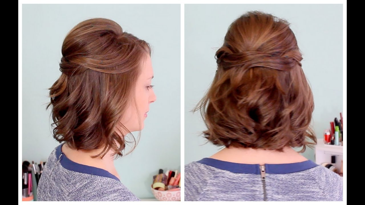Hair Style Up For Wedding: Quick Half Up Hairstyle For Short Hair