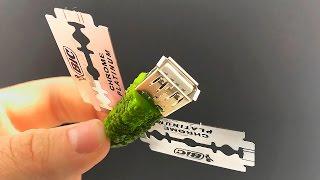 Можно ли Зарядить телефон от огурца с лезвиями ?/Charge a mobile phone with a pickle and razors?