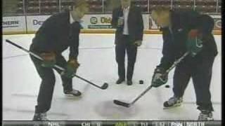 Woog and Hendrickson on hockey faceoffs