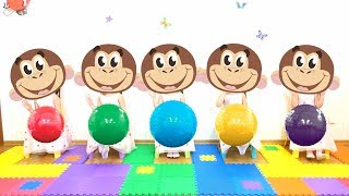 Five little Monkeys - Songs Colors with Rainbow Balls