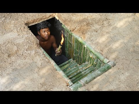 Build Secret Underground Bamboo House by Ancient Skill