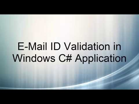 Validate an email address using c#