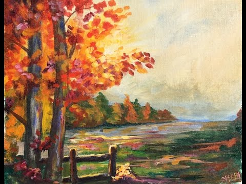 Beginner Learn to paint a Landscape Full acrylic for Fall /A