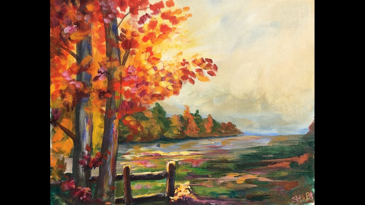 How To Paint Fall Scene With Acrylics