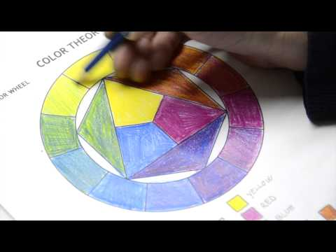 Color Wheel and Color Theory: worksheets in colored pencils