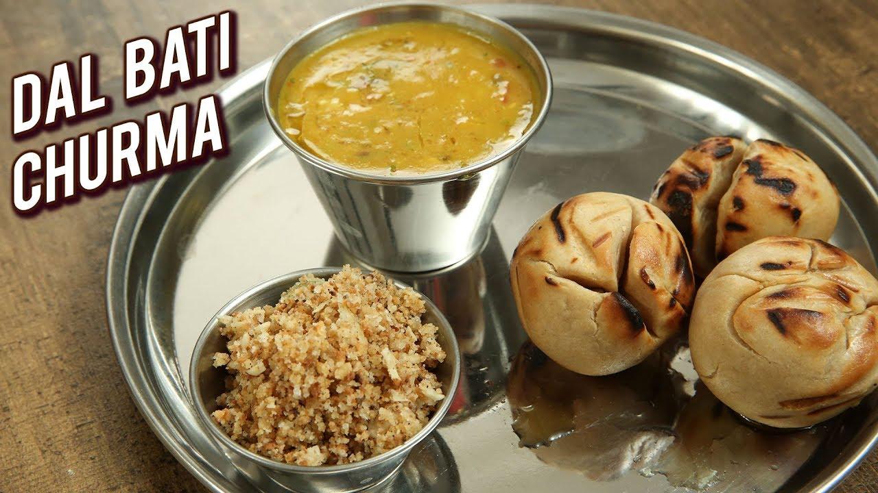 Rajasthani Dal Bati Recipe - How To Make Dal Baati Churma - Main Course Recipe - Varun - YouTube