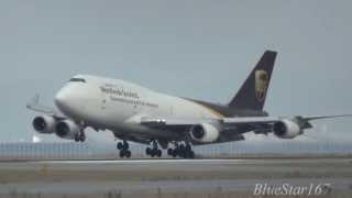 United Parcel Service (UPS) Boeing 747-400BDSF (N578UP) landing at KIX/RJBB (Osaka - Kansai) RWY 24R