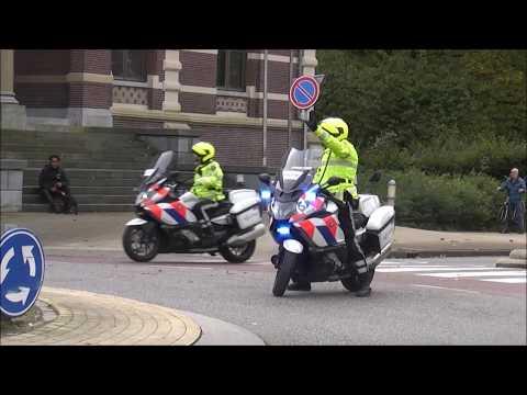 5x politie motors begeleiden Prinses Beatrix in Tiel