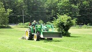 JOHN DEERE 4120 TRACTOR CUTTING GRASS WITH LAND PRIDE MOWER