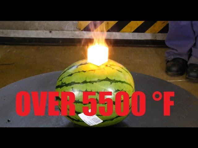 White Hot Tungsten Cube (over 3000°C) Vs. Watermelon and Steak