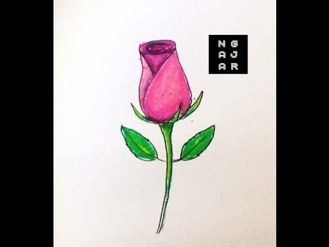 How To Draw A Rose For Kids Step By Step Mewarnai Bunga Mawar Oil