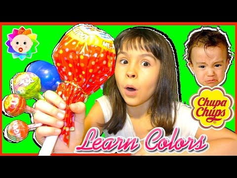 Thumbnail: Bad Baby Learn colors with Giant Colorful Lolipops - Finger Family Song Collection- Real Babies Song