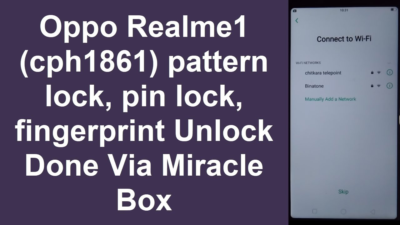Oppo Realme1 (cph1861) pattern lock, pin lock, Remove Done