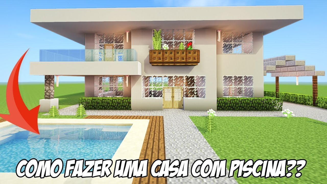 Minecraft tutorial casa moderna com piscina como fazer for Case moderne con piscina