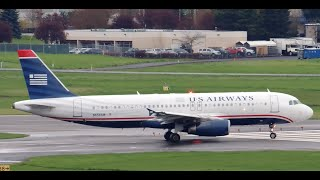 US Airways Airbus A320-232 [N658AW] takeoff from PDX