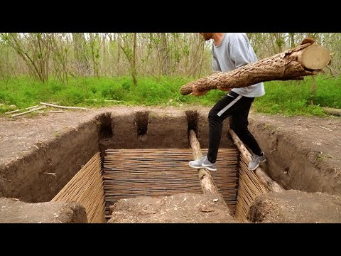 How to Build EASY DIY Doomsday Underground Bunker in the Forest  , ASMR Ambience