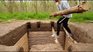 How to Build EĄSY DIY Doomsday Underground Bunker in the Forest , ASMR Ambience