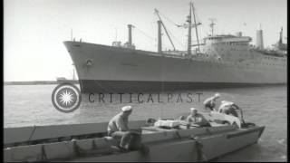 US sailors and a US Navy ship on a dock in Beirut, Lebanon during the Lebanon Cri...HD Stock Footage