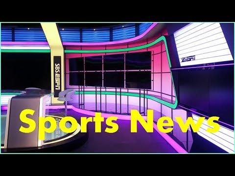 broadcast sports news studio background set up with tv lighting