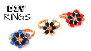 DIY Beaded rings. How to make beaded rings. Jewelry making.