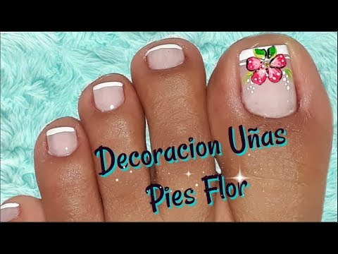 Decoraci n de u as pies flor nail decoration feet flower for Decoracion unas en pies