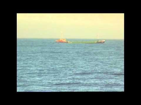 A ship heading into a rough North Sea, Brave men