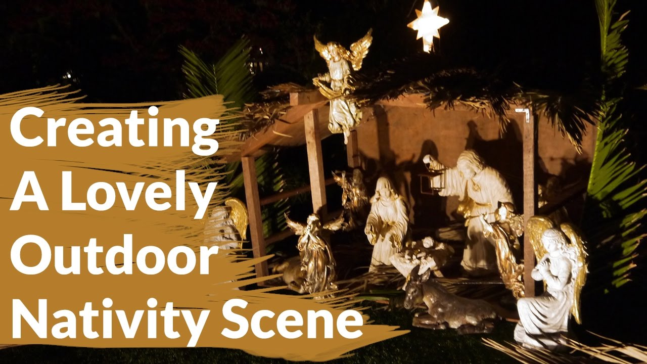 how to create a lovely outdoor nativity scene joy us garden youtube - Outdoor Christmas Decorations Nativity Scene
