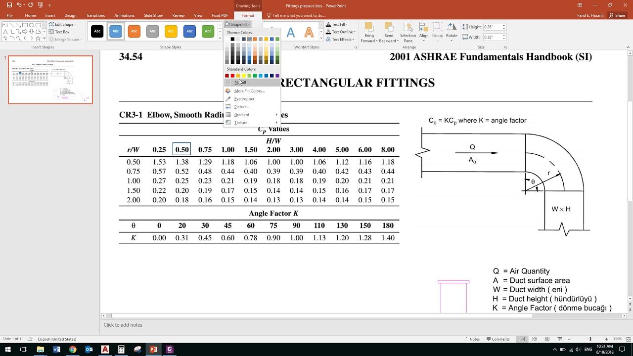 Ashrae Rectangular Duct Elbow Pressure Drop Calculation