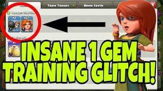 TRAIN 24 VALKS FOR 1 GEM!!! New troop glitch Clash of clans